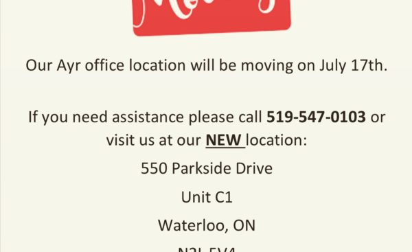 Our Ayr, Ontario office is on the move!