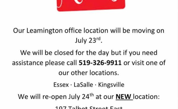 Today, July 23 is Leamington office moving day!